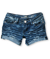 Almost Famous Shayna Camo Print Blue Denim Shorts