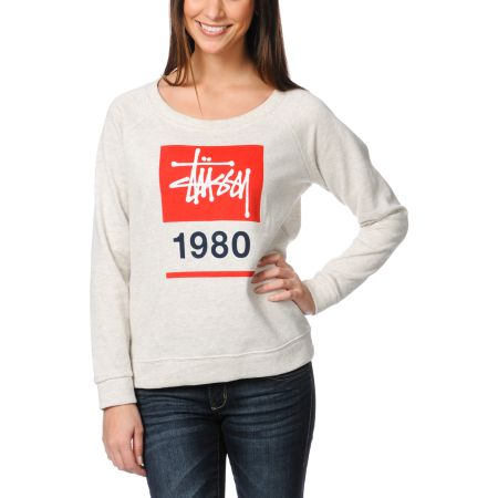 Stussy Girls Stock Box Oatmeal Grey Crew Neck Sweatshirt