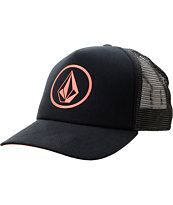 Volcom Girls Circle Stone Black Trucker Hat