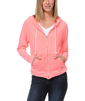 Roxy Neon Tide Coral Crochet Pocket Zip Up Hoodie