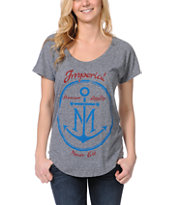 Imperial Motion Girls Anchor Monogram Heather Grey Tee Shirt