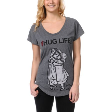 Imperial Motion Girls Hug Life Grey Scoop Neck Tee Shirt