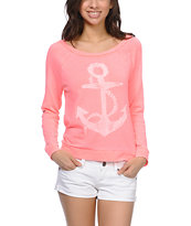 Billabong Lost Again Neon Coral Long Sleeve Shirt