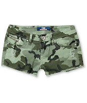YMI Taye Green Camo Print Cut Off Shorts