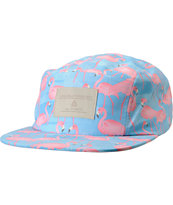 Lira Girls Blue Flamingo Print 5 Panel Hat