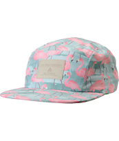 Lira Girls Green Flamingo Print 5 Panel Hat