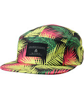Lira Girls Black & Neon Leaf Print 5 Panel Hat