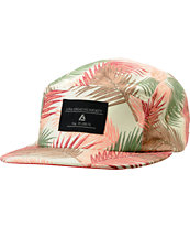 Lira Girls Cream & Coral Leaf Print 5 Panel Hat