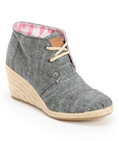 Toms Black Chambray Desert Wedge Shoes