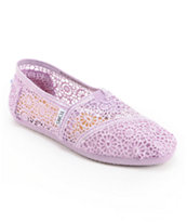 Toms Classics Lilac Snow Crochet Slip On Shoe