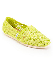 Toms Classics Neon Lime Crochet Slip On Shoe