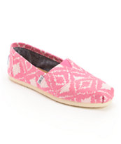 Toms Classics Pink Geo Print Girls Slip On Shoe