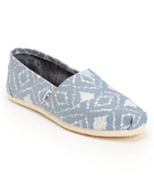 Toms Classics Blue Geo Print Girls Slip On Shoe