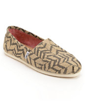 Toms Classics Natural Zebra Zag Girls Slip On Shoe