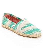 Toms Classics Aqua Umbrella Stripe Girls Slip On Shoe