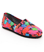 Toms Classic Bright Floral Girls Slip On Shoe