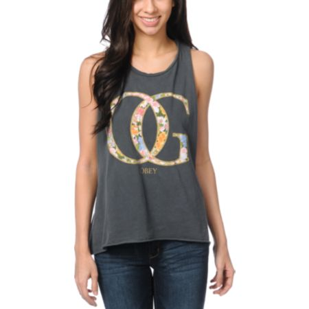 Obey OG Spring Charcoal Open Back Tank Top