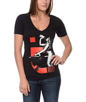 TMLS Girls Wifey 7 Black V-Neck Tee Shirt