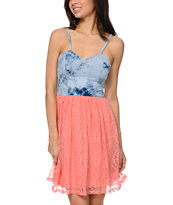 Love, Fire Tie Dye & Coral Lace Dress