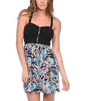 Love, Fire Black Tribal Print Zipper Dress
