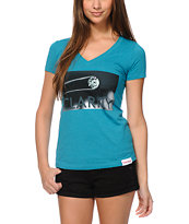 Diamond Supply Girls Clarity Teal V-Neck Tee Shirt