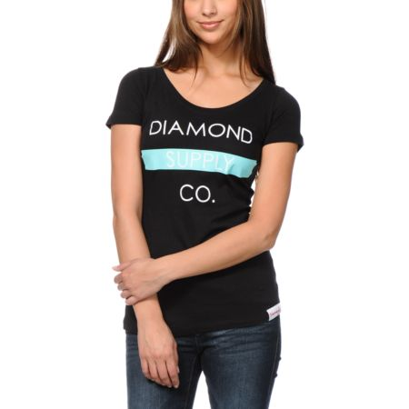 Diamond Supply Girls Bar Logo Black Scoop Neck Tee Shirt