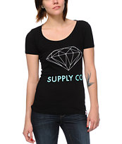 Diamond Supply Girls Black Scoop Neck Tee Shirt