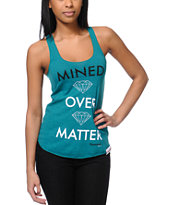 Diamond Supply Girls Mined Over Matter Teal Tank Top