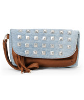 T-shirt & Jeans Brown & Denim Studded Wristlet