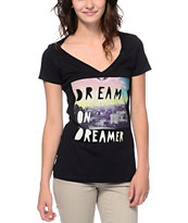 Glamour Kills New Dream On Dreamer Black V-Neck Tee Shirt