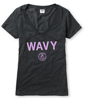 Crooks And Castles Girls Wavy Charcoal V-Neck Tee Shirt