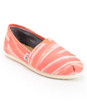 Toms Classics Coral Stripe Slip On Shoes