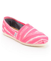 Toms Classics Pink Stripe Slip On Shoes