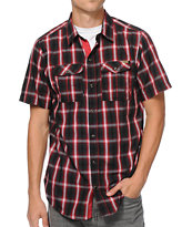 Empyre Ritual Red & Black Plaid Short Sleeve Button Up Shirt
