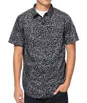 Empyre Panther Grey & Black Short Sleeve Button Up Shirt