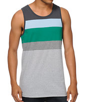 Zine Shamecation Grey & Green Striped Tank Top