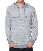 Empyre Chaste Heather Grey Knit Henley Hooded Shirt