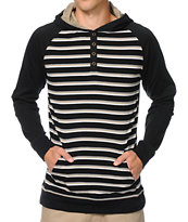 Empyre Chum Black Stripe Henley Hooded Shirt