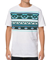 Empyre Oliver White & Blue Tribal Print Tee Shirt