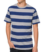 Empyre Candy Navy & Grey Striped Pocket Tee Shirt