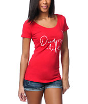 Diamond Supply Girls Diamond Life Red Scoop Neck Tee Shirt