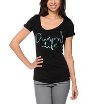 Diamond Supply Girls Diamond Life Black Scoop Neck Tee Shirt