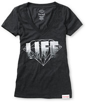 Diamond Supply Girls NY Diamond Life Charcoal V-Neck Tee Shirt