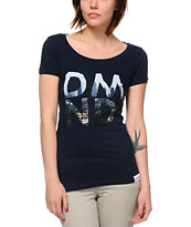 Diamond Supply Girls LA DMND Navy Scoop Neck Tee Shirt