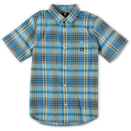 DC Boys Dignan Blue Plaid Button Up Shirt
