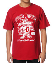 Obey Stop Snitchin Red Tee Shirt