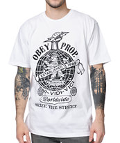 Obey Globe Fist White Tee Shirt