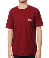 Stussy Basic Logo Wine Dark Red Tee Shirt