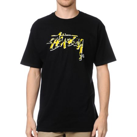 Stussy Flower Stock Black Tee Shirt