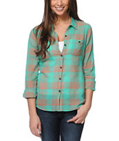 Volcom Girls Calmate Plaid Button Up Shirt